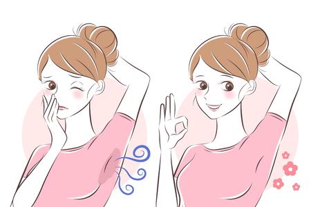 femme de dessin animé de beauté avec problème d'odeur corporelle