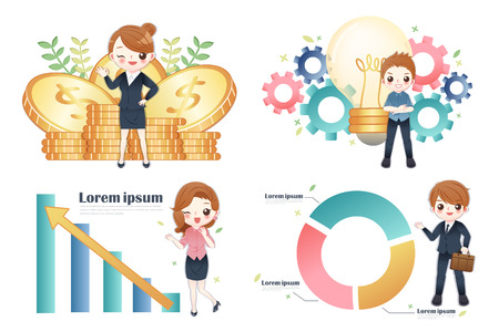 cute cartoon people business teamwork of finance and analysis
