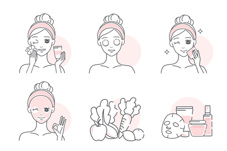 cartoon woman with a natural facial mask