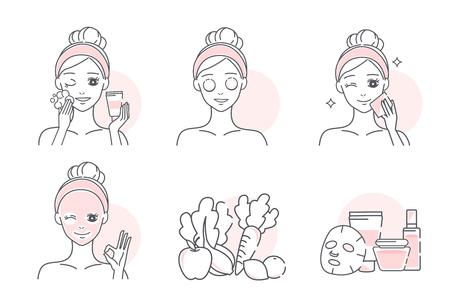 cartoon woman with a natural facial mask