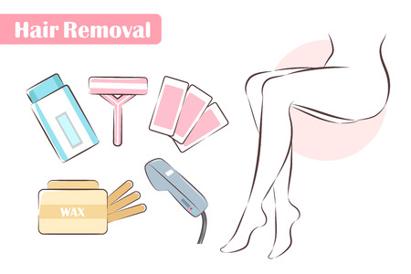 some cute cartoon tools about hair removal