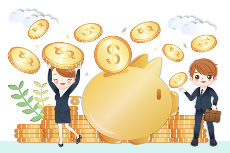 cute cartoon business people with huge piggy bank and saving money concept