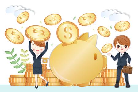 Gente de negocios de dibujos animados lindo con enorme alcancía y concepto de ahorro de dinero