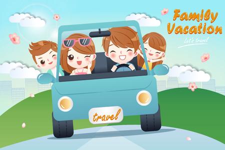 cute cartoon happy family rides car on journey Illustration