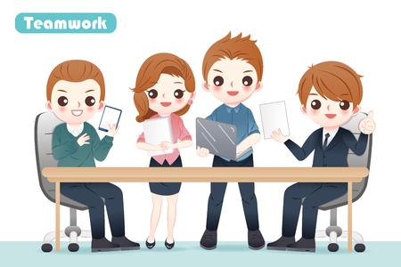 cute cartoon powerful teamwork of business people