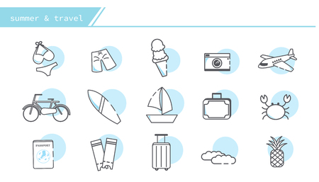 summer and travel icon set - Simple Line Series Illustration