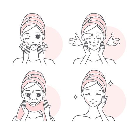 Paso a paso de mujer de dibujos animados lavándose la cara Ilustración de vector