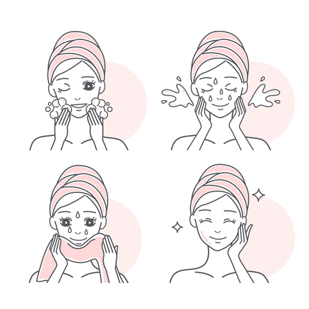 Step by step of cartoon woman washing her face Vektorové ilustrace
