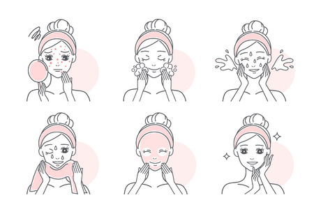 woman apply facial mask to treat acne Illustration