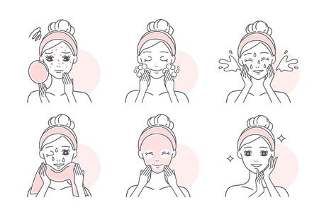 la donna applica una maschera facciale per curare l'acne