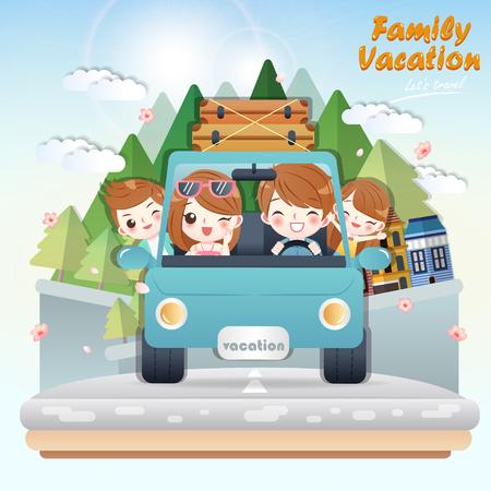 cute cartoon happy family rides car on journey