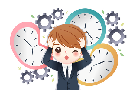 cute cartoon businessman is busy with time Illustration