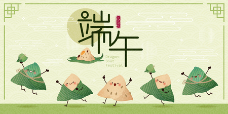 Las albóndigas de arroz de dibujos animados bailan y saltan con el festival del barco del dragón en la palabra china sobre fondo verde
