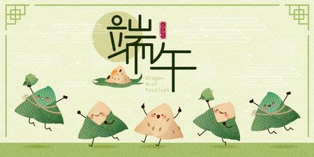Süße Cartoon-Reisknödel tanzen und springen mit Drachenboot-Festival im chinesischen Wort auf grünem Hintergrund
