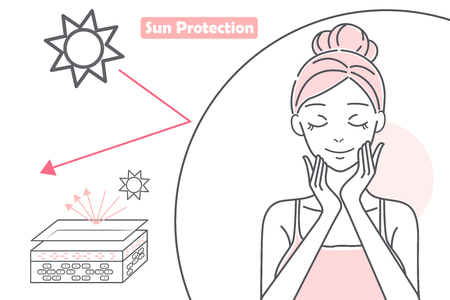 cute cartoon woman in the safety mask with sunburn problem on white background