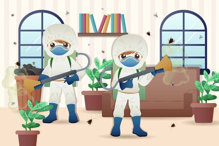 professional interior pest control service team at work spraying insecticide in living room Vettoriali