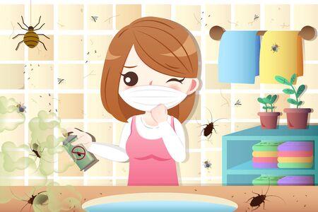 Cartoon-Frau verwendet Insektizid im schmutzigen Haus mit Schädlingen