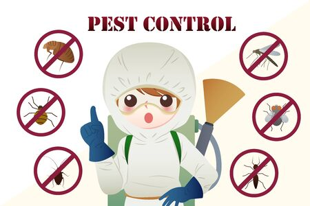 pest control concept with insects exterminator on white and yellow background Vettoriali