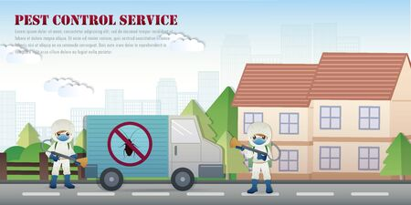 pest control service with insects exterminator and textbox outside the house