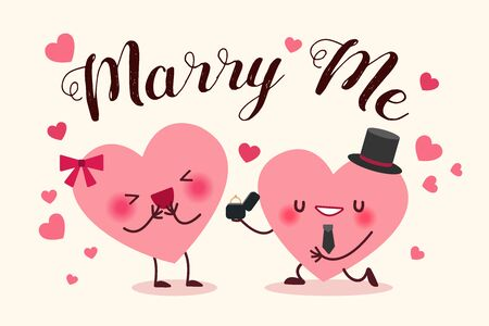 cute cartoon heart with hat and get down on one knee for propose on yellow background