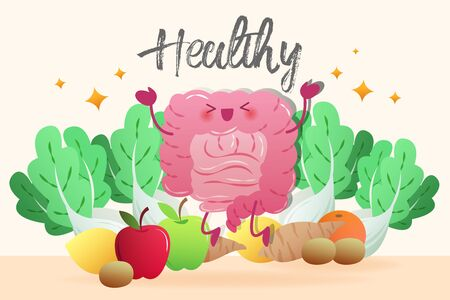 happy cartoon healthy intestine jump with vegetable on yellow background Stock Illustratie