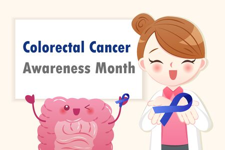 cartoon healthy intestine and doctor with colorectal cancer awareness month