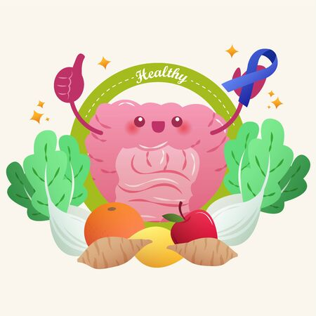 cartoon healthy intestine take blue ribbon with vegetable on yellow background