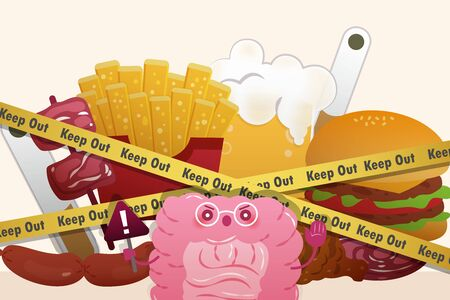 healthy intestine take a warning sign in front of  junk food with blockade line Çizim