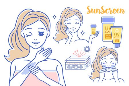 beauty cartoon woman with sunscreen on white background Çizim