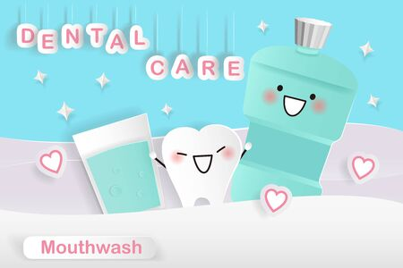 cute cartoon tooth with mouthwash with dental care Illustration