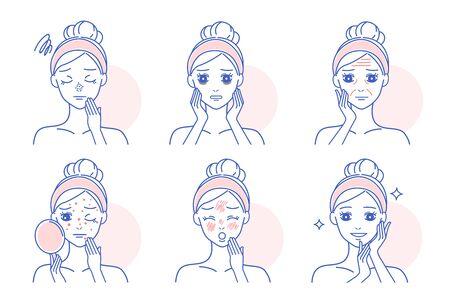 femme de bande dessinée a un problème de peau du visage et se sent malheureuse