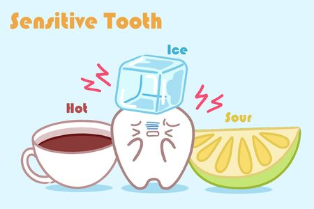 cute cartoon tooth with senstive problem on the blue background Çizim