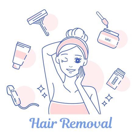 beauty cartoon woman with some cute tools about hair removal Çizim