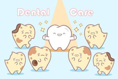 cute cartoon health and sick tooth with spot light Çizim