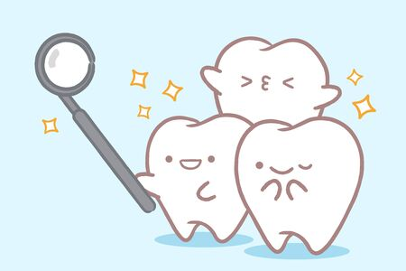 tooth with dental care concept on the white background Çizim