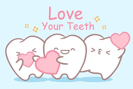 tooth with dental care with heart on the blue background