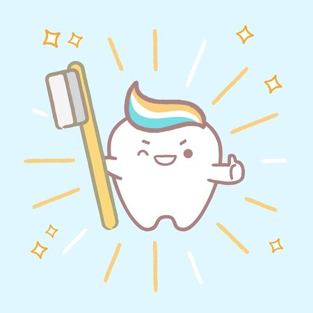 cute cartoon tooth take brush with health cocnept on blue backgorund