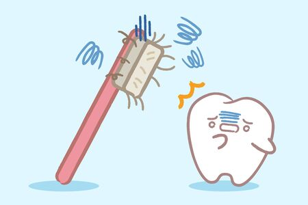 cute cartoon healthy teeth with bad toothbrush on blue background