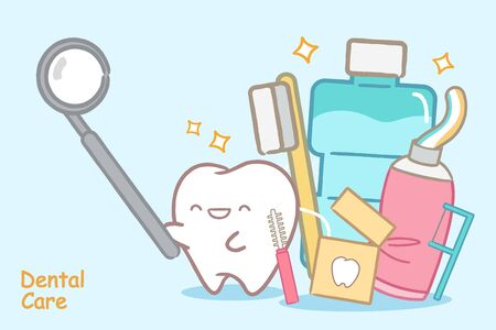 tooth with dental care concept on the white background Illustration