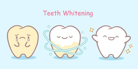 cute cartoon white tooth with health concept