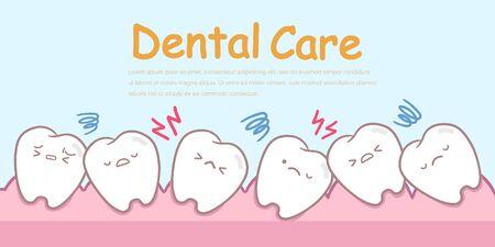 cute cartoon crowding teeth concept on blue background