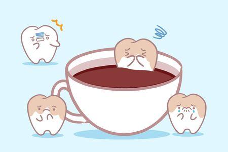 cute yellow cartoon tooth in cup of coffee Çizim