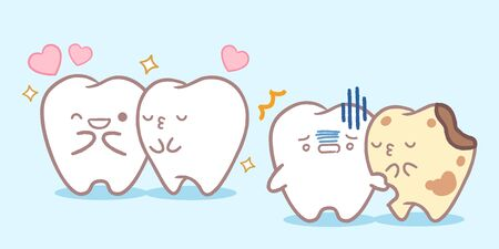 cute carrtoon tooth kiss and with dacay problem  Çizim