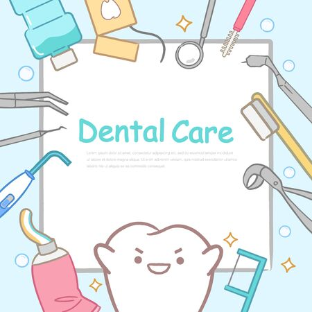 cute cartoon tooth and paper with tool on blue background