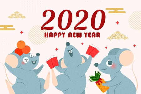 cute cartoon mouse with 2020 happy new year Ilustrace