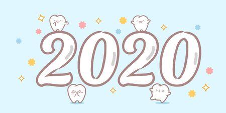 dent de dessin animé avec 2020 sur fond bleu