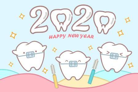 cartoon tooth with 2020 on the blue background