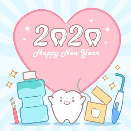 cartoon tand houdt 2020 op de gele achtergrond