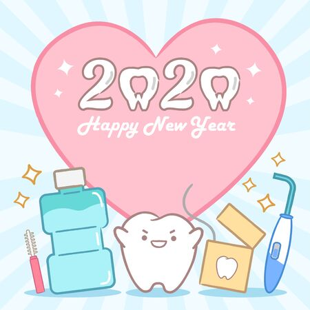 cartoon tooth hold 2020 on the yellow background Imagens - 131899472