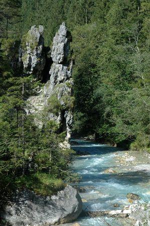 a ravine near ramsau in the german alps
